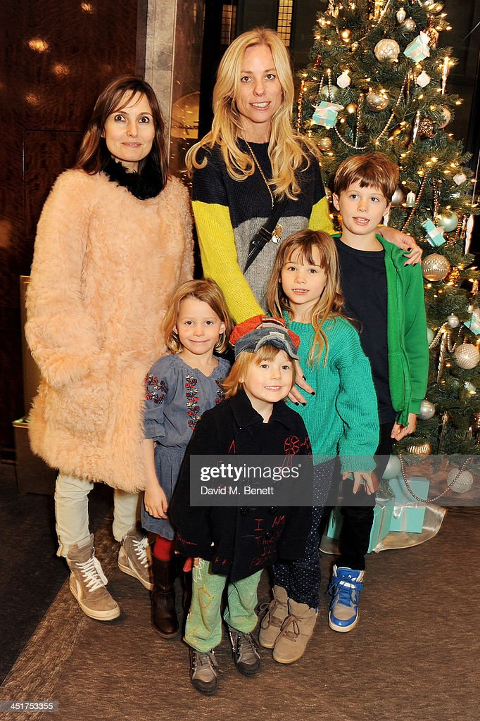 Daisy Bates (L), Kate Driver (C) and children attend as Joely Richardson officially opens the Tiffany & Co. Christmas Shop on Bond Street, London on November 24, 2013 in London, England.