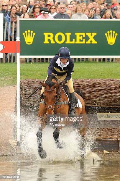 Daisy Dick riding Spring Along during the Cross Country Trials at the Mitsubishi Motors Badminton Horse Trials in Badminton Gloucester