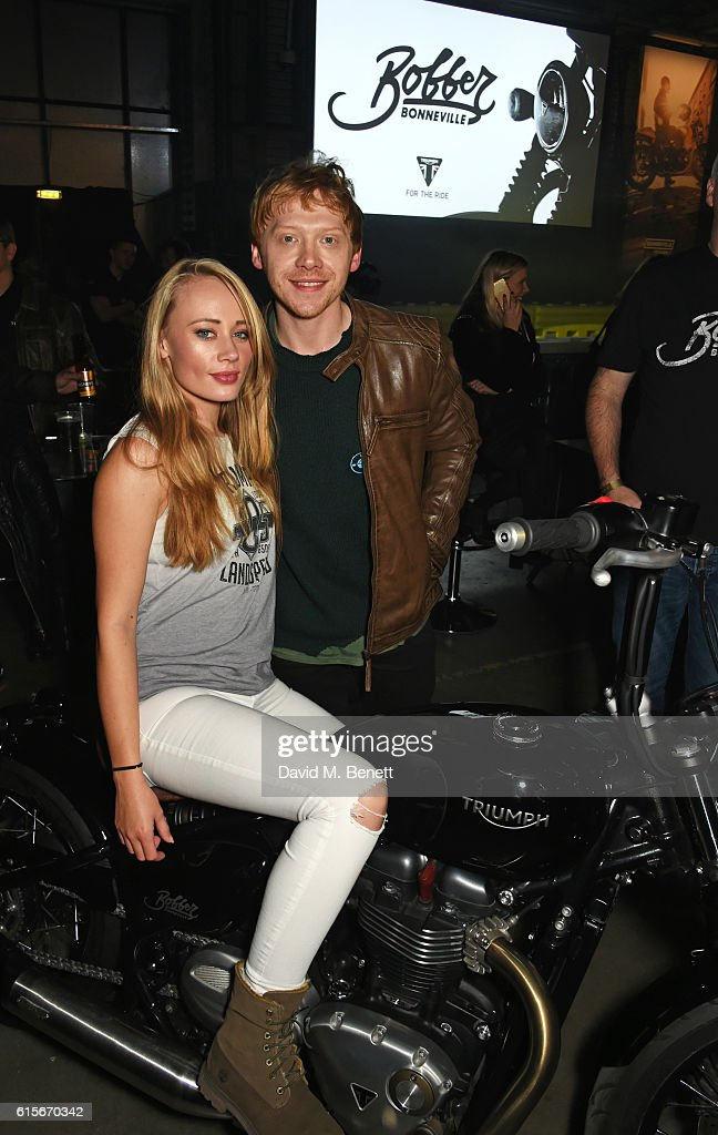 Daisy Lea Germaine (L) and Rupert Grint attend the Global VIP Reveal of the new Triumph Bonneville Bobber on October 19, 2016 in London, England.