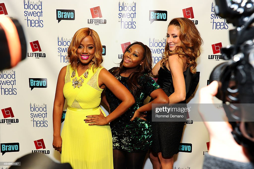 Daisy Lewellyn, Geneva S. Thomas and Mica Hughes attend the season premiere of 'Blood, Sweat and Heels' at Kristalbelli on December 10, 2013 in New York City.