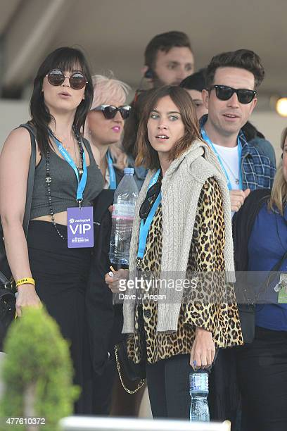 Daisy Lowe Alexa Chung and Nik Grimshaw in the Barclay Hospitality Suite as part of the British Summer Time 2015 gigs at Hyde Park on June 18 2015 in...