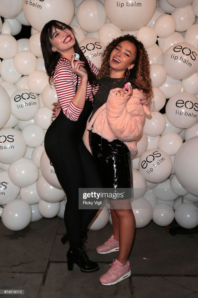 Daisy Lowe and Ella Eyre attend the 'EOS Lip Balm Winter Lips' party at Jimmy's Lodge Pop up on November 14, 2017 in London, England.