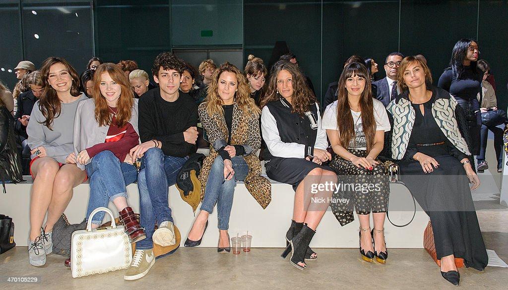 Daisy Lowe Angela Scanlon Daisy Lowe Matt Richardson Caroline Flack Lulu Kennedy and Zara Martin attend the Fashion East show at London Fashion Week...