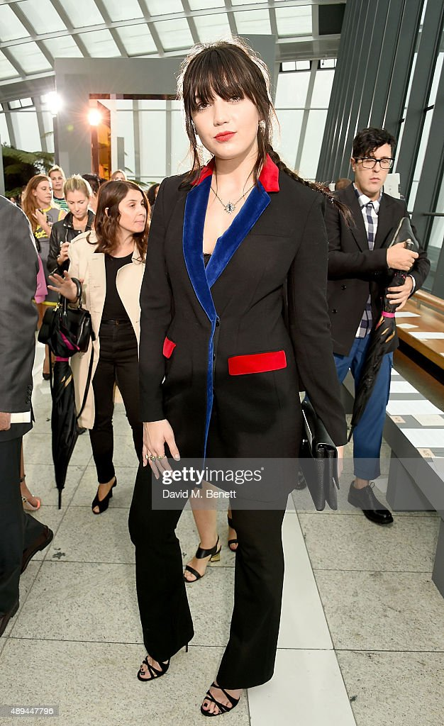Daisy Lowe attends the Christopher Kane show during London Fashion Week SS16 at Sky Garden on September 21 2015 in London England