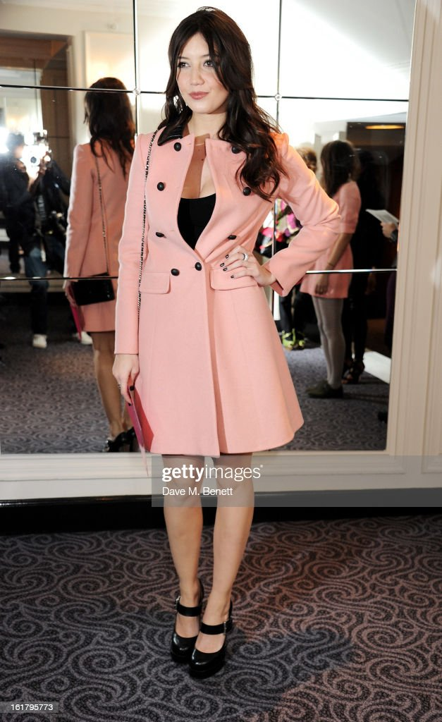 <a gi-track='captionPersonalityLinkClicked' href=/galleries/search?phrase=Daisy+Lowe&family=editorial&specificpeople=787647 ng-click='$event.stopPropagation()'>Daisy Lowe</a> attends the Moschino cheap&chic show during London Fashion Week Fall/Winter 2013/14 at The Savoy Hotel on February 16, 2013 in London, England.