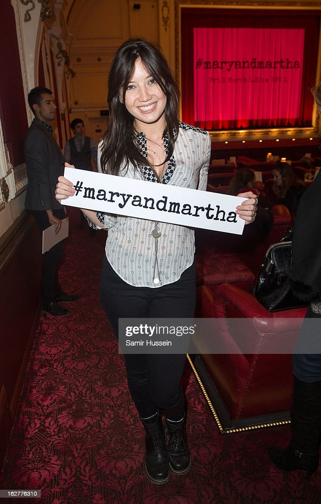 <a gi-track='captionPersonalityLinkClicked' href=/galleries/search?phrase=Daisy+Lowe&family=editorial&specificpeople=787647 ng-click='$event.stopPropagation()'>Daisy Lowe</a> attends the private screening of Mary & Martha, hosted by Emma Freud at the Electric Cinema on February 26, 2013 in London, England. The film, by Richard Curtis, which airs on BBC1 on Friday 1st March at 8.30pm stars Hilary Swank as Mary and Brenda Blethyn as Martha, an American and and Englishwoman who have little in common apart from the tragedy of losing a son to malaria, that unexpectedly brings them together.