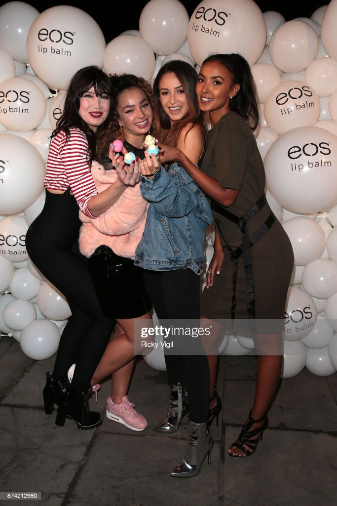 Daisy Lowe, Ella Eyre, Danielle Peazer and Maya Jama attend the 'EOS Lip Balm Winter Lips' party at Jimmy's Lodge Pop up on November 14, 2017 in London, England.