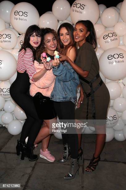 Daisy Lowe Ella Eyre Danielle Peazer and Maya Jama attend the 'EOS Lip Balm Winter Lips' party at Jimmy's Lodge Pop up on November 14 2017 in London...