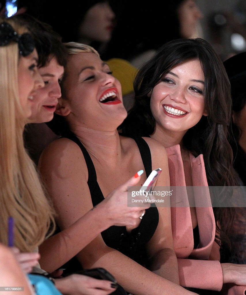 Daisy Lowe (R), Jaime Winstone (2nd R) and Pixie Geldof attend the Moschino cheap&chic show during London Fashion Week Fall/Winter 2013/14 at The Savoy Hotel on February 16, 2013 in London, England.