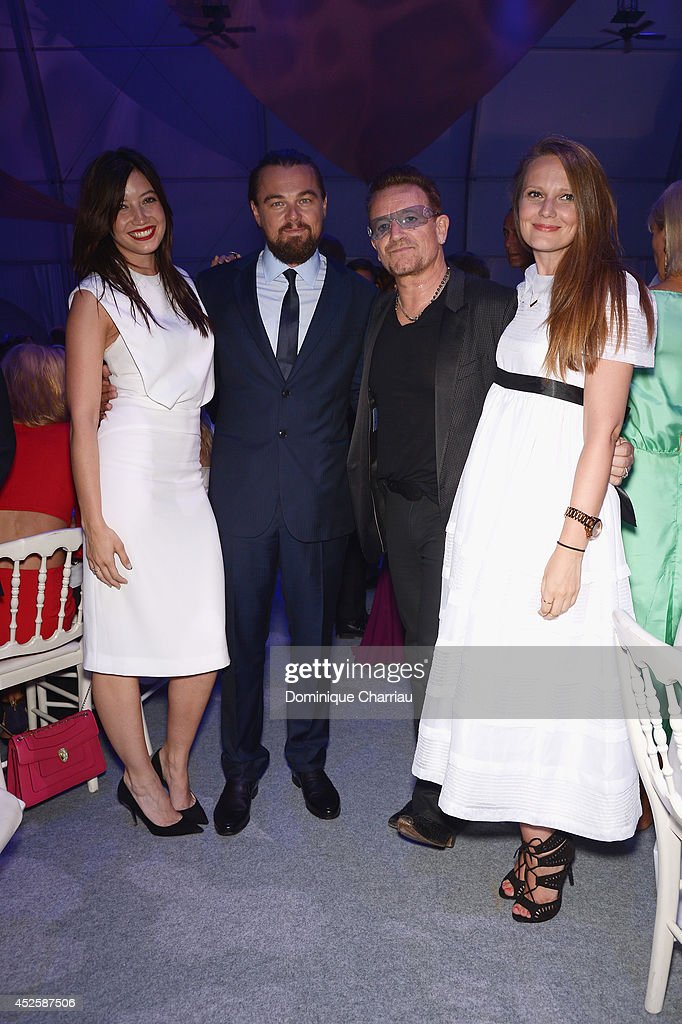 <a gi-track='captionPersonalityLinkClicked' href=/galleries/search?phrase=Daisy+Lowe&family=editorial&specificpeople=787647 ng-click='$event.stopPropagation()'>Daisy Lowe</a>, <a gi-track='captionPersonalityLinkClicked' href=/galleries/search?phrase=Leonardo+DiCaprio&family=editorial&specificpeople=201635 ng-click='$event.stopPropagation()'>Leonardo DiCaprio</a>, <a gi-track='captionPersonalityLinkClicked' href=/galleries/search?phrase=Bono+-+Singer&family=editorial&specificpeople=167279 ng-click='$event.stopPropagation()'>Bono</a> and a guest attend the Leonardo Dicaprio Gala at Domaine Bertaud Belieu on July 23, 2014 in Saint-Tropez, France.