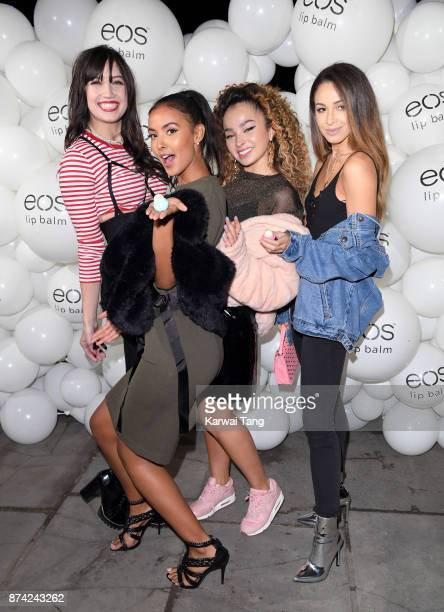 Daisy Lowe Maya Jama Ella Eyre and Danielle Peazer attend the 'EOS Lip Balm Winter Lips' party at Jimmy's Lodge Pop up on November 14 2017 in London...
