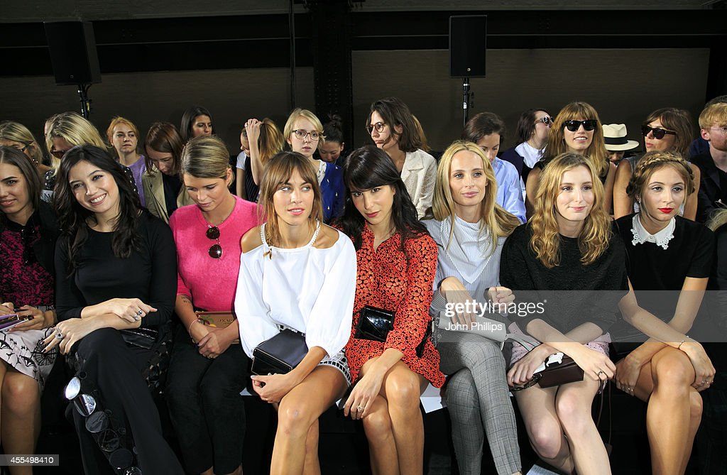 Daisy Lowe Pixie Geldof and Alexa Chung attend the Christopher Kane show during London Fashion Week Spring Summer 2015 at on September 15 2014 in...