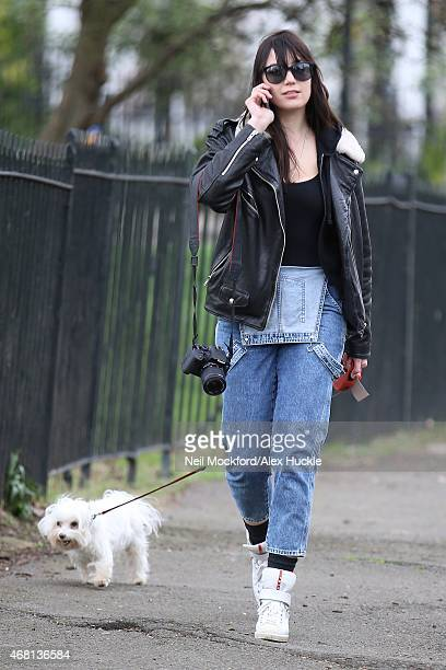 Daisy Lowe seen walking her dog in Primrose Hill on March 30 2015 in London England