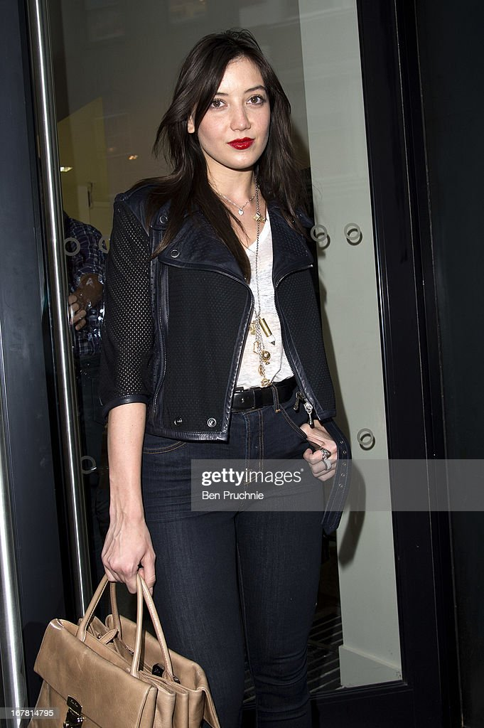 <a gi-track='captionPersonalityLinkClicked' href=/galleries/search?phrase=Daisy+Lowe&family=editorial&specificpeople=787647 ng-click='$event.stopPropagation()'>Daisy Lowe</a> sighted arriving at the Conde Nast College of Fashion & Design launch party on April 30, 2013 in London, England.