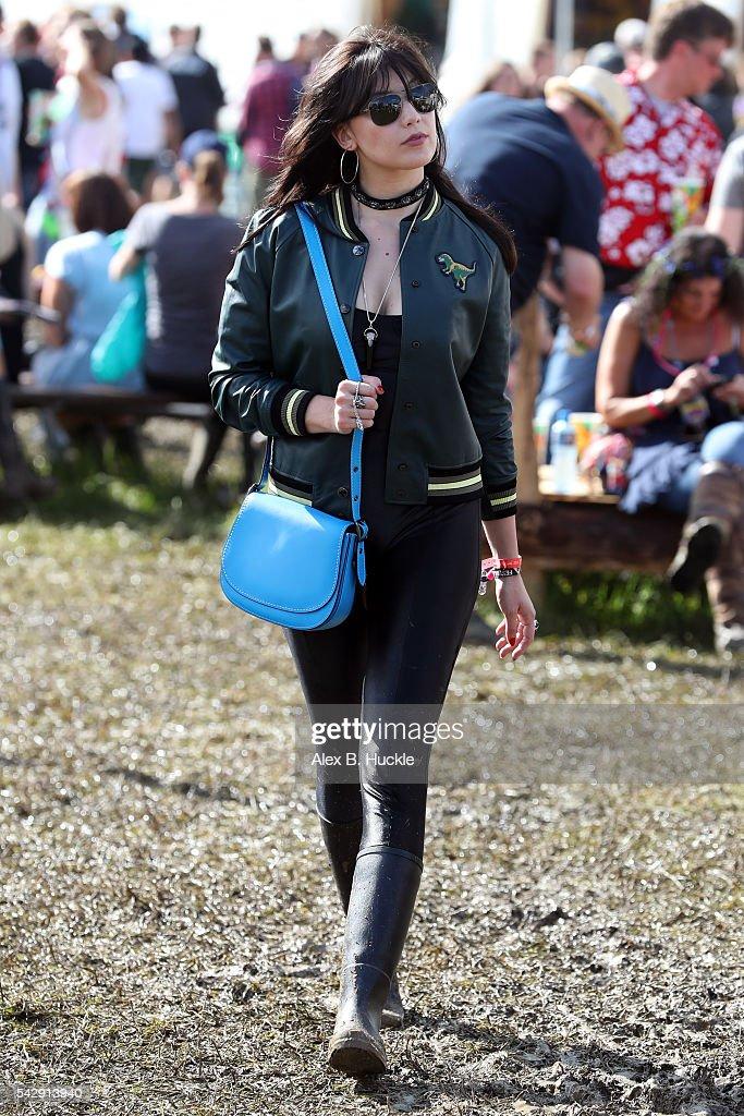 Daisy Lowe wearing Coach attends the Glastonbury Festival at Worthy Farm, Pilton on June 25, 2016 in Glastonbury, England.