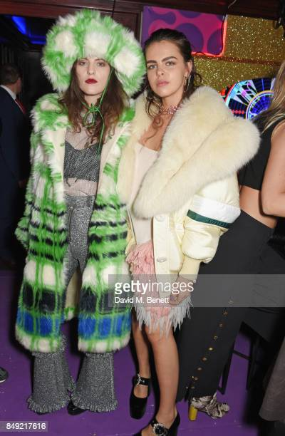 Daisy Maybe and Bee Beardsworth attend the LOVE magazine x Miu Miu party held during London Fashion Week at Loulou's on September 18 2017 in London...