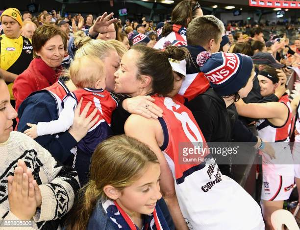 Daisy Pearce of Darebin celebrates with family and friends after winning the VFL Women's Grand Final match between Diamond Creek and Darebin at...