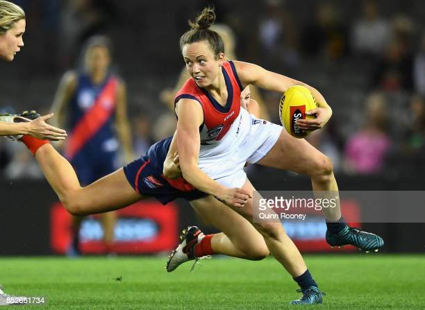 Daisy Pearce of Darebin is tackled during the VFL Women's Grand Final match between Diamond Creek and Darebin at Etihad Stadium on September 24 2017...
