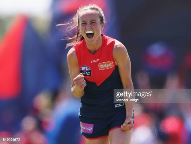 Daisy Pearce of the Demons celebrates the win on the final siren during the round four Women's AFL match between the Melbourne Demons and the Carlton...