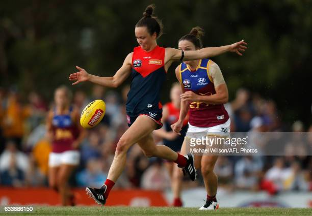 Daisy Pearce of the Demons in action during the 2017 AFLW Round 01 match between the Melbourne Demons and the Brisbane Lions at Casey Fields on...