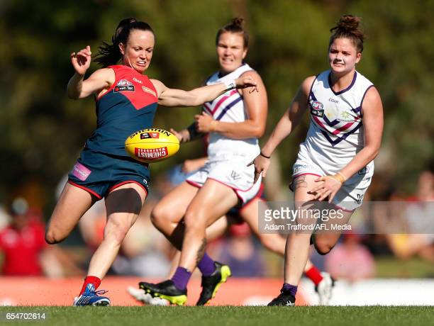 Daisy Pearce of the Demons in action during the 2017 AFLW Round 07 match between the Melbourne Demons and the Fremantle Dockers at Casey Fields on...