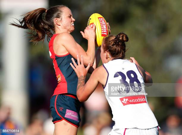 Daisy Pearce of the Demons marks the ball during the 2017 AFLW Round 07 match between the Melbourne Demons and the Fremantle Dockers at Casey Fields...