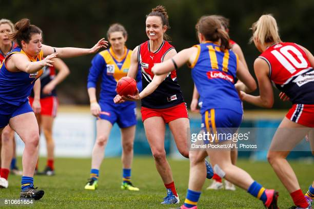 Daisy Pearce of the Falcons breaks through traffic during the VFL Women's match between Cranbourne and Darebin at Casey Fields on July 8 2017 in...