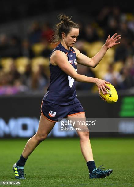 Daisy Pearce of Victoria kicks during the AFL Women's State of Origin match between Victoria and the Allies at Etihad Stadium on September 2 2017 in...