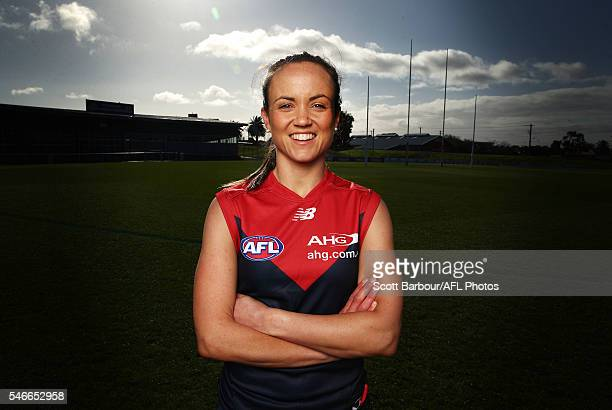 Daisy Pearce poses during the announcement of the final AFL Women's Exhibition Match with the Western Bulldogs to host Melbourne at Whitten Oval on...