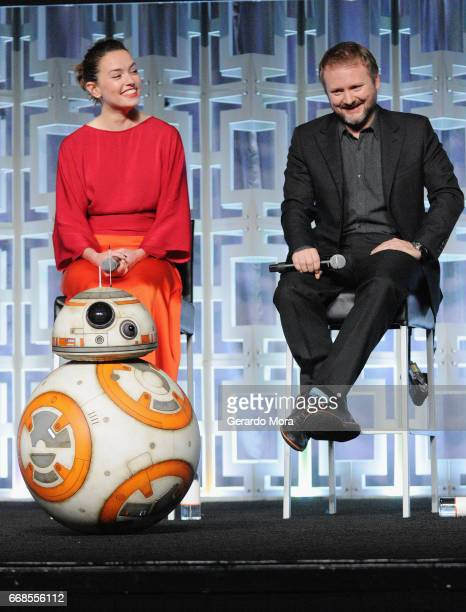 BB8 Daisy Ridley and Rian Johnson attend the Star Wars The Last Jedi panel during the 2017 Star Wars Celebration at Orange County Convention Center...