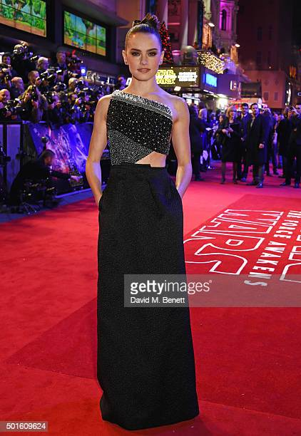 Daisy Ridley attends the European Premiere of 'Star Wars The Force Awakens' in Leicester Square on December 16 2015 in London England