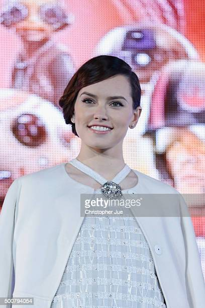 Daisy Ridley attends the 'Star Wars The Force Awakens' fan event at the Roppongi Hills on December 10 2015 in Tokyo Japan