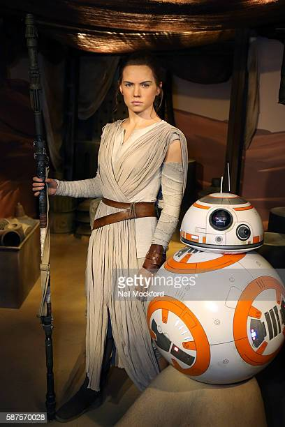 Daisy Ridley's wax figure character Rey from 'Star Wars The Force Awakens' is unveiled at Madame Tussauds on August 9 2016 in London England