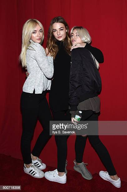 Daisy Smith Rachel Russell and Pyper America Smith attend the adidas Originals NMD global unveiling at the 69th Regiment Armory on December 9 2015 in...