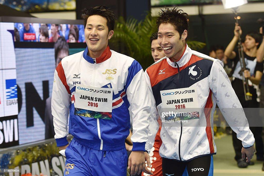 Daiya Seto of Japan (L) and Kosuke Hagino of Japan (R) smile during the Japan Swim 2016, day 1 at Tokyo Tatsumi International Swimming Pool on April 4, 2016 in Tokyo, Japan.