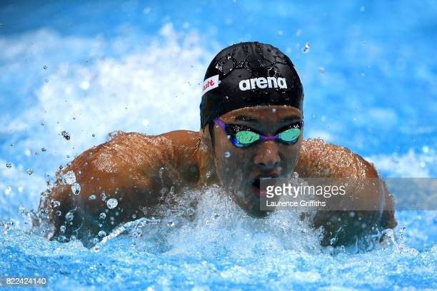 Daiya Seto of Japan competes during the Men's 200m Butterfly semi final one on day twelve of the Budapest 2017 FINA World Championships on July 25...