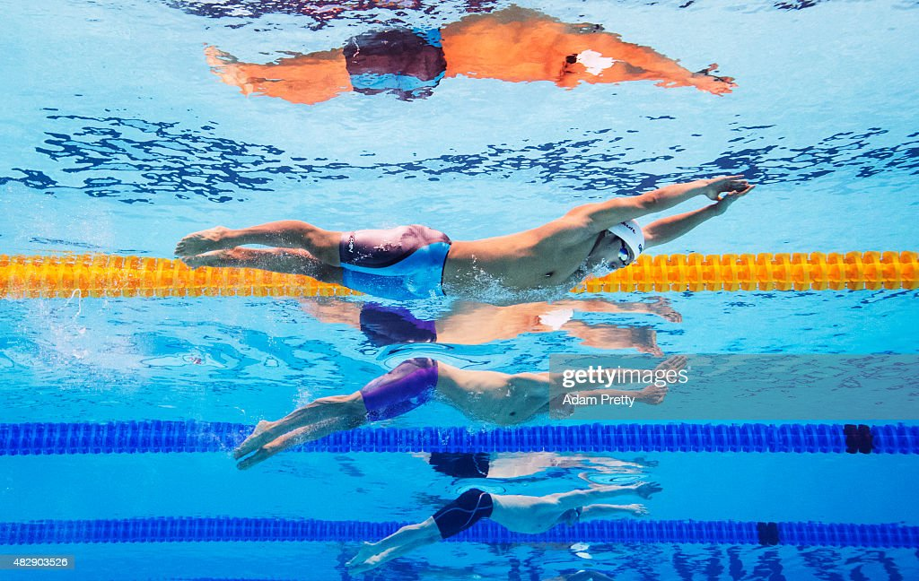 Daiya Seto (nearside) of Japan competes in the Men's 200m Butterfly heats on day eleven of the 16th FINA World Championships at the Kazan Arena on August 4, 2015 in Kazan, Russia.