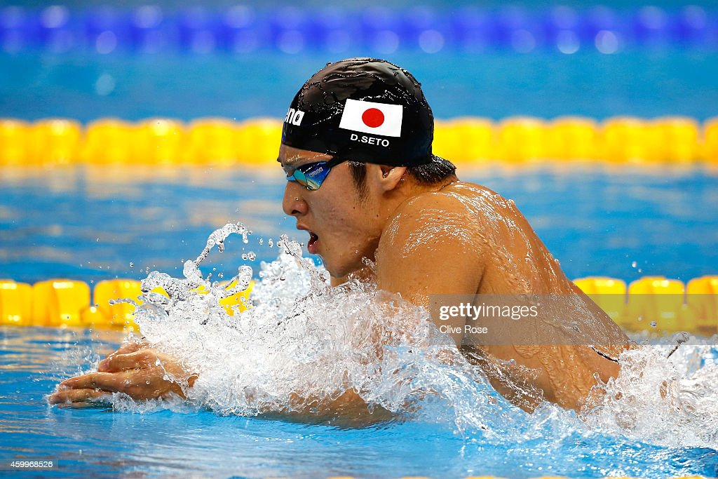 <a gi-track='captionPersonalityLinkClicked' href=/galleries/search?phrase=Daiya+Seto&family=editorial&specificpeople=5666115 ng-click='$event.stopPropagation()'>Daiya Seto</a> of Japan competes in the Men's 400m Individual Medley heats on day two of the 12th FINA World Swimming Championships (25m) at the Hamad Aquatic Centre on December 4, 2014 in Doha, Qatar