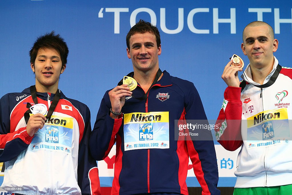 Daiya Seto of Japan, Ryan Lochte of USA and Laszlo Cseh of Hungary pose with their medals on the podium after the Men's 200m Individual Medley Final during day three of the 11th FINA Short Course World Championships at the Sinan Erdem Dome on December 14, 2012 in Istanbul, Turkey.
