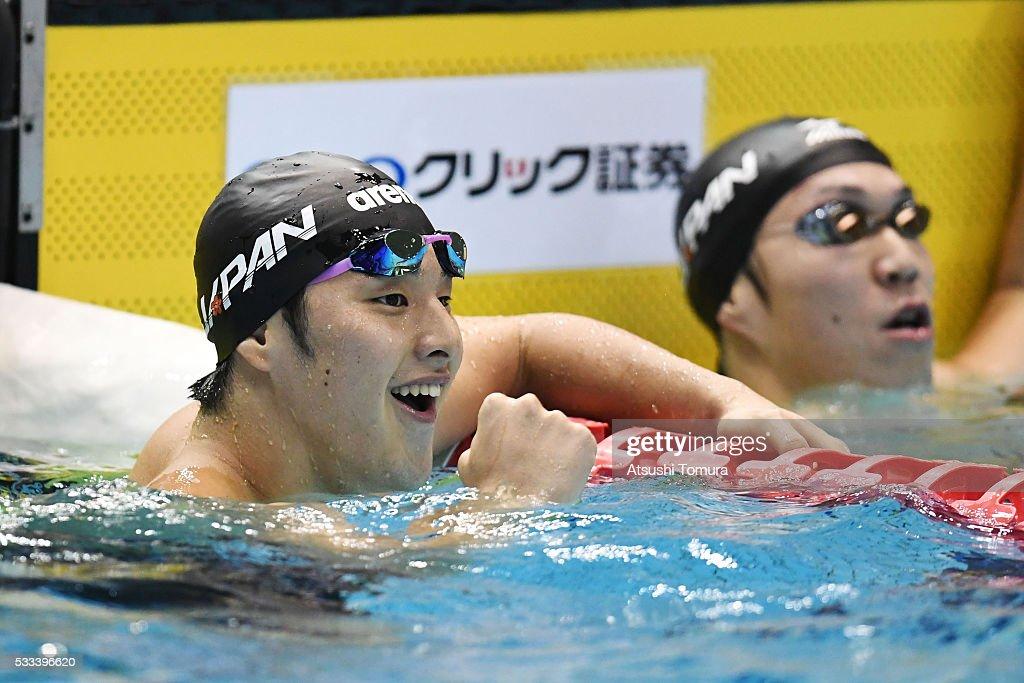 Daiya Seto of Japan smiles after the Men's 200m Breaststroke final during the Japan Open 2016 at Tokyo Tatsumi International Swimming Pool on May 22, 2016 in Tokyo, Japan.