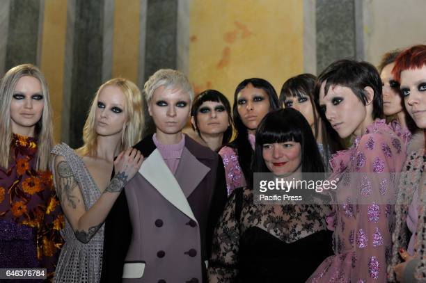 Daizy Shly with models on backstage ahead of the Daizy Shely show during Milan Fashion Week Fall/Winter 2017/18