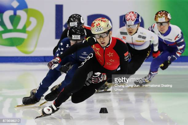Dajing Wu of China competes in the Men 500m Semifinals during the Audi ISU World Cup Short Track Speed Skating at Mokdong Ice Rink on November 18...