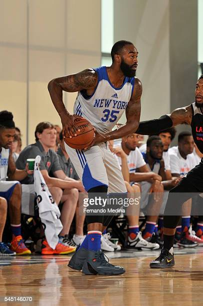 DaJuan Summers of New York Knicks handles the ball against the Los Angeles Clippers during the 2016 Summer League at the Amway Center on July 5 2016...
