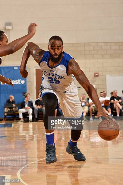 DaJuan Summers of New York Knicks handles the ball against the Magic White on July 6 2016 during Summer League at the Amway Center in Orlando Florida...