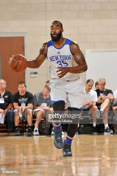 DaJuan Summers of the New York Knicks handles the ball against the Orlando Magic White on July 6 2016 during the 2016 Orlando Summer League at the...