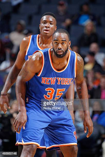 DaJuan Summers of the New York Knicks looks on during the game against the Charlotte Hornets on October 17 2015 at Time Warner Cable Arena in...
