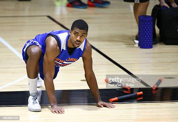 DaJuan Summers of the New York Knicks participates at practice on September 30 2015 at West Point NOTE TO USER User expressly acknowledges and agrees...