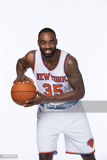Dajuan Summers of the New York Knicks poses for a portrait at Media Day at the MSG Training Facility in Greenburgh New York on September 28 2015 NOTE...