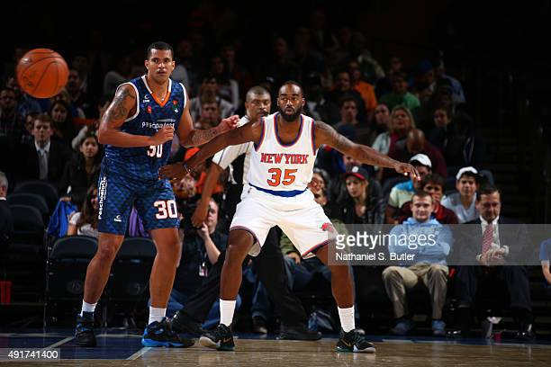 DaJuan Summers of the New York Knicks posts up against Paschoalotto/Bauru during a preseason game on October 7 2015 at Madison Square Garden in New...