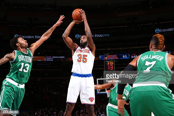 DaJuan Summers of the New York Knicks shoots the ball against the Boston Celtics during a preseason game on October 16 2015 at Madison Square Garden...